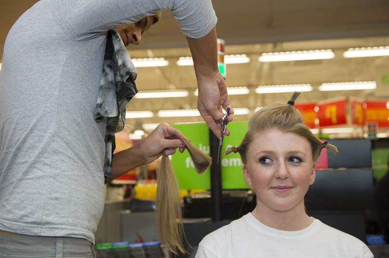 Aimee Lawton Meningitis Research Head Shave